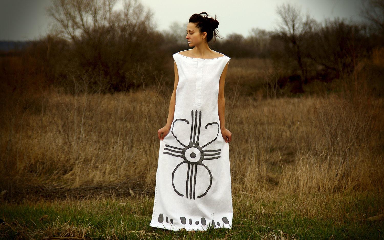 Long linen maxi dress flax sleeveless white dress with applique
