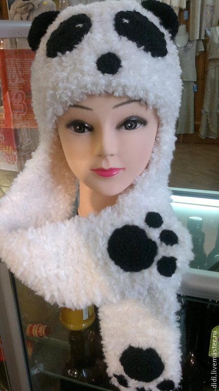 """Шапки ручной работы. Ярмарка Мастеров - ручная работа. Купить шапка """"Панда"""". Handmade. Белый, шапка с мордочкой, крючок"""