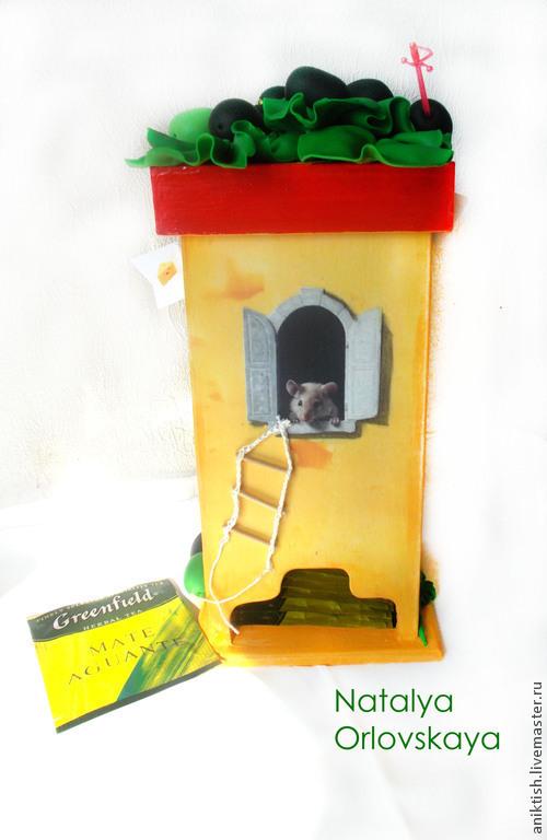 """Кухня ручной работы. Ярмарка Мастеров - ручная работа. Купить Чайный домик """"Сырная башня"""". Handmade. Желтый, чайный короб"""