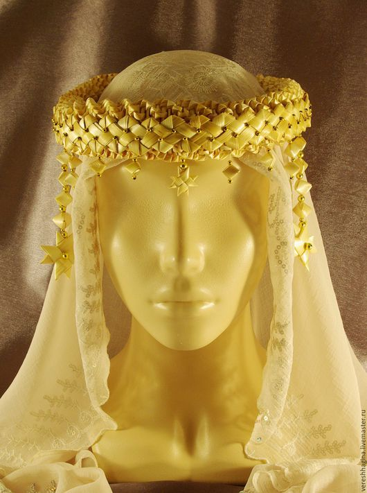 """Повязки ручной работы. Ярмарка Мастеров - ручная работа. Купить Очелье женское """"Алатырь"""" на голову из соломки. Handmade. Желтый"""