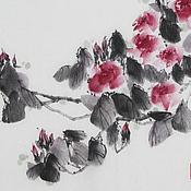 Картины и панно ручной работы. Ярмарка Мастеров - ручная работа картина Дикая роза(китайская живопись суми-э пастельные тона). Handmade.