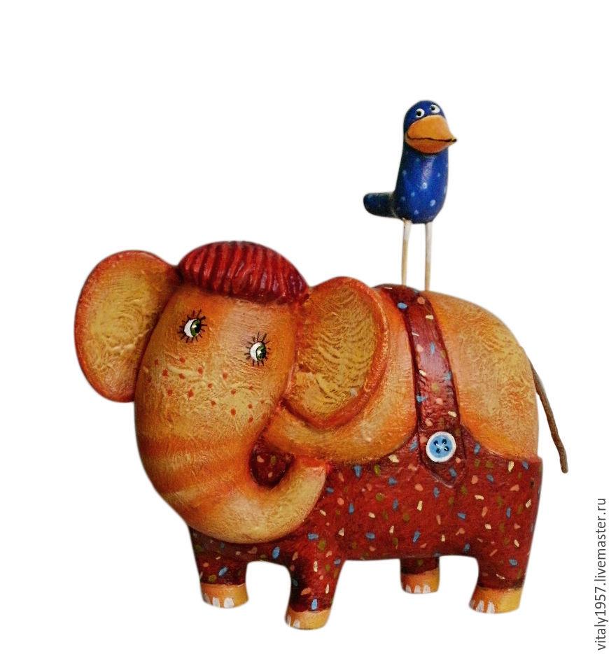 Я и мой слон . Деревянная скульптура. Ручная роспись, Игрушки, Киев, Фото №1