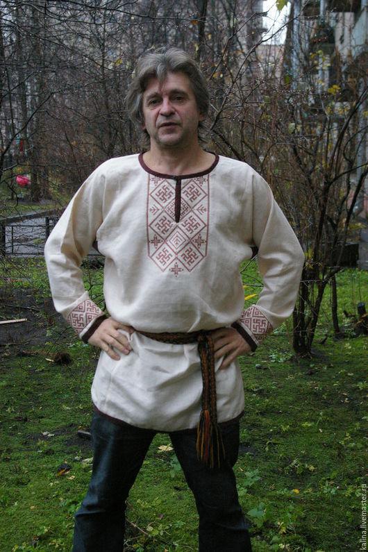 """Одежда ручной работы. Ярмарка Мастеров - ручная работа. Купить мужская рубаха""""Одолень трава"""". Handmade. Бежевый, рубаха мужская"""
