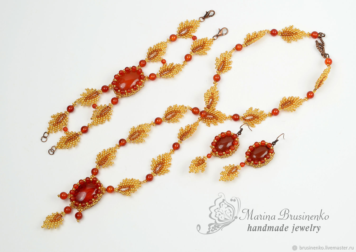 Necklace, bracelet and earrings Autumn tenderness with carnelian leaves, Jewelry Sets, Novosibirsk,  Фото №1