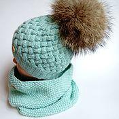 Работы для детей, ручной работы. Ярмарка Мастеров - ручная работа Комплект шапка +снуд демисезонный. Handmade.