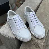 Обувь ручной работы handmade. Livemaster - original item Sneakers made of genuine ostrich leather, in white color!. Handmade.