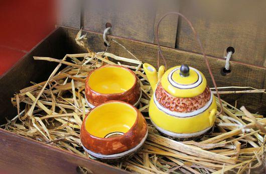Сервизы, чайные пары ручной работы. Ярмарка Мастеров - ручная работа. Купить Сервиз для Чайной Церемонии. Handmade. Желтый