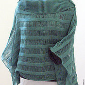 Одежда handmade. Livemaster - original item Linen top tunic Sweater Clothing green. Handmade.