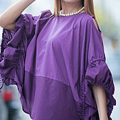 Одежда handmade. Livemaster - original item Elegant, loose blouse made of cotton - TP0486CT. Handmade.