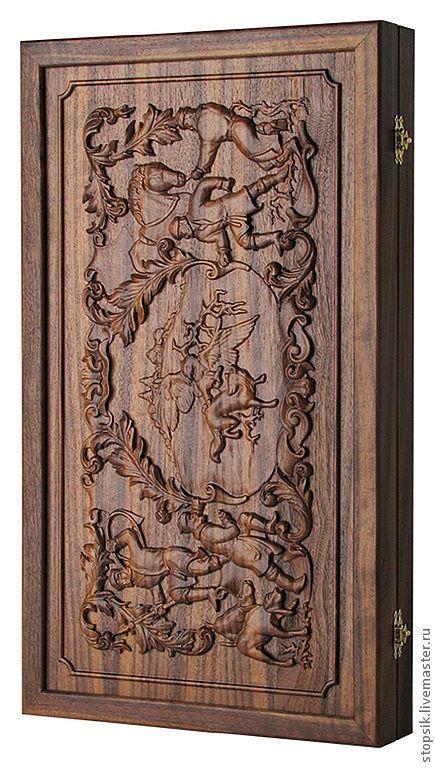 Настольные игры ручной работы. Ярмарка Мастеров - ручная работа. Купить Нарды, шашки Соколиная охота (орех) (18708). Handmade.