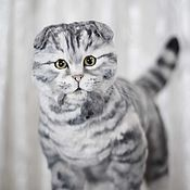 Мягкие игрушки ручной работы. Ярмарка Мастеров - ручная работа Шотландская вислоухая кошка в стиле тедди натюр. Handmade.