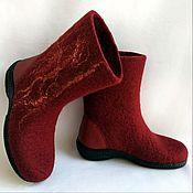 Обувь ручной работы handmade. Livemaster - original item Boots boots Bordeaux with leather heel. Handmade.