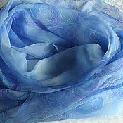 Аксессуары handmade. Livemaster - original item Silk scarf Blue rose,170h70 cm,batik, chiffon painting. Handmade.