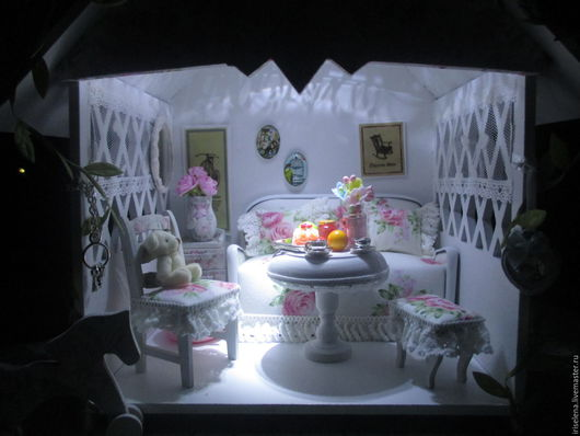 """Кукольный дом ручной работы. Ярмарка Мастеров - ручная работа. Купить Комнатка-беседка """"Милая, нежная""""Для кукол от маленьких и до 15-16 см. Handmade."""