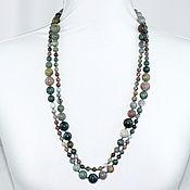 Работы для детей, handmade. Livemaster - original item Long large beads natural moss agate. Handmade.