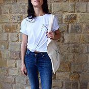 Одежда handmade. Livemaster - original item T-shirt women`s white straight cut with geometric print. Handmade.