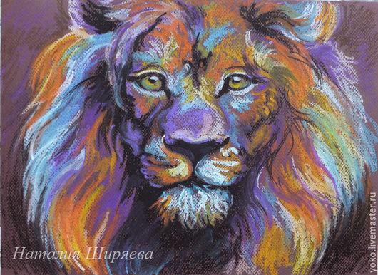 """Животные ручной работы. Ярмарка Мастеров - ручная работа. Купить Картина со львом """"Радужный лев"""". Handmade. Оранжевый"""