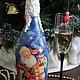 """Новый год 2017 ручной работы. Ярмарка Мастеров - ручная работа. Купить Новогодняя бутылка """"Дед Мороз - красный нос"""". Handmade."""