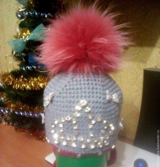 зимняя шапочка для девочки 2-3 лет с короной из страз