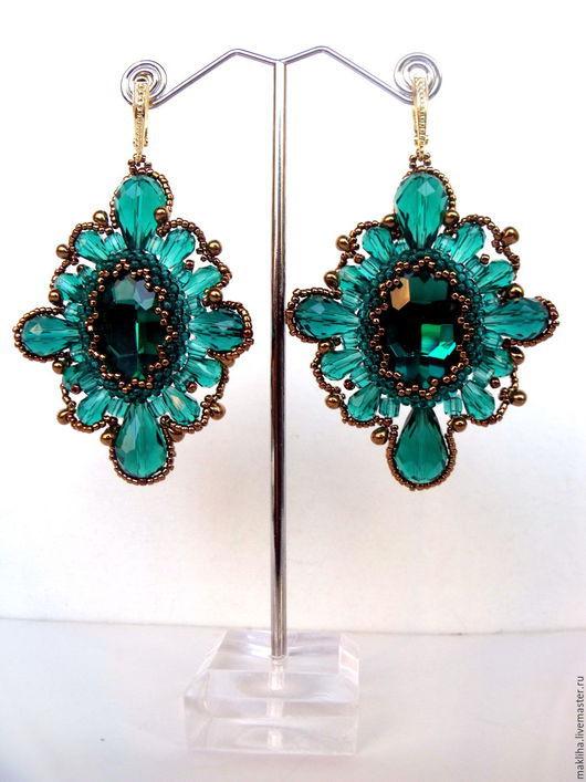 """Серьги ручной работы. Ярмарка Мастеров - ручная работа. Купить Серьги """"Изумрудное кружево"""". Handmade. Изумрудный, подарок женщине, emerald"""