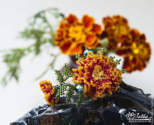 """Броши ручной работы. Ярмарка Мастеров - ручная работа. Купить Мини-брошь """"Цветок бархатца"""". Handmade. Оранжевый, осень"""