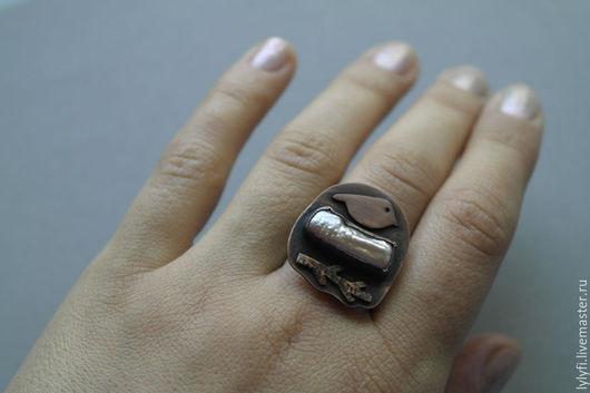 """Кольца ручной работы. Ярмарка Мастеров - ручная работа. Купить кольцо """"Жемчужное гнездышко"""". Handmade. Коричневый, кольцо с жемчугом"""