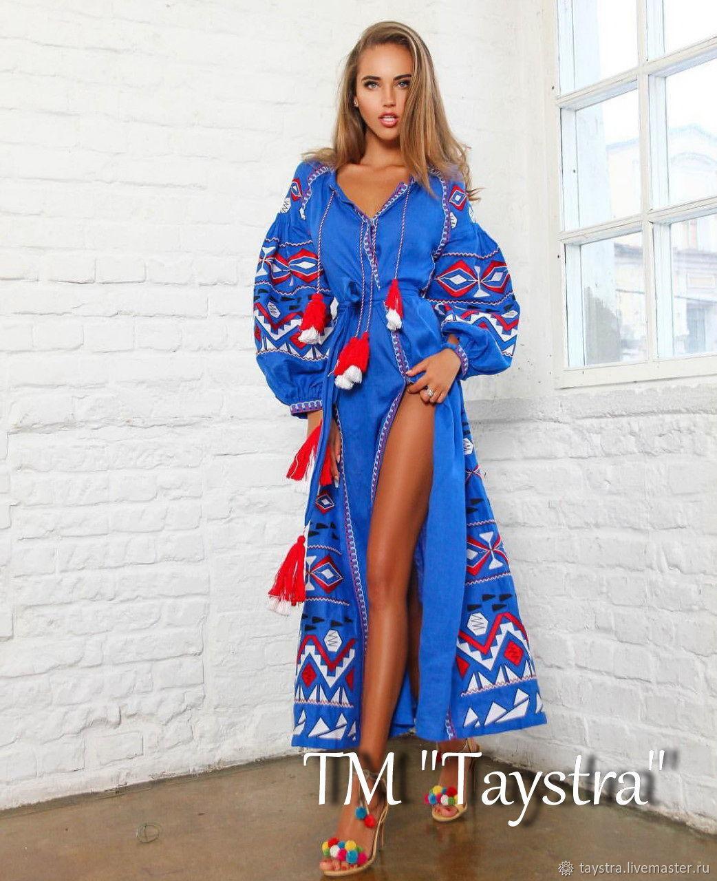 Синее платье вышиванка, вышитое платье макси, Платья, Черновцы,  Фото №1