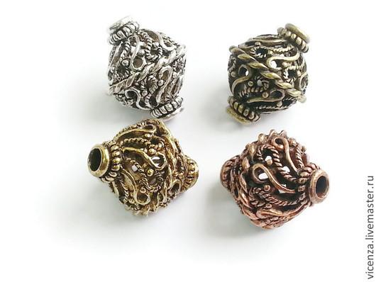 Бусины металлические  биконус ажурные (медь, бронза, золото, серебро) 20*17мм