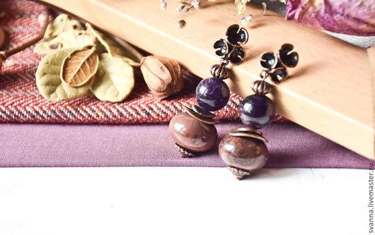 """Серьги ручной работы. Ярмарка Мастеров - ручная работа. Купить Серьги из натуральных камней """"Violett"""". Handmade. Тёмно-фиолетовый"""