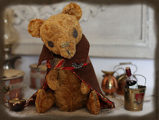 Мишки Тедди ручной работы. Ярмарка Мастеров - ручная работа. Купить Медведь тедди Прохор. Handmade. Оранжевый, плюш винтажный
