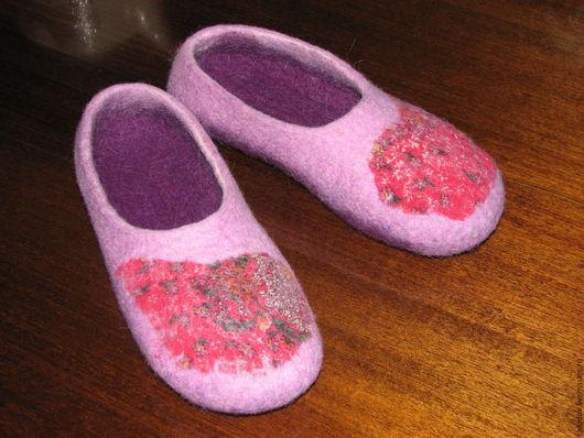 Тапочки ручной работы из овечьей шерсти Розовый Сиреневый 100% шерсть