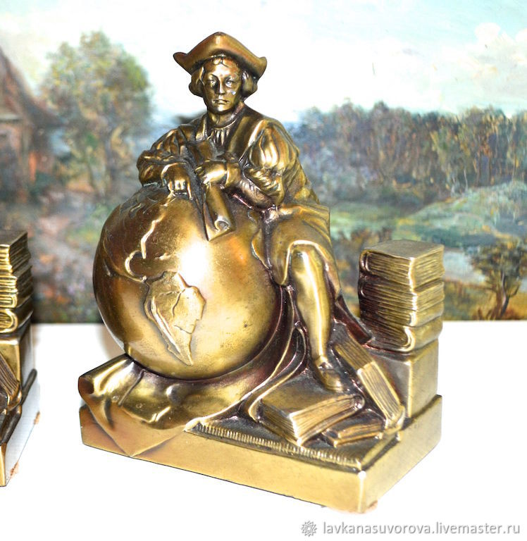 Bookends CHRISTOPHER COLUMBUS bronze USA, Vintage interior, Rostov-on-Don,  Фото №1