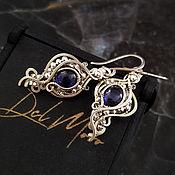 Украшения handmade. Livemaster - original item Earrings with a sapphire metal melchior stone