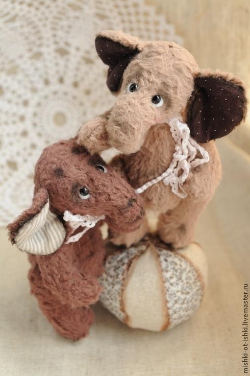 Мишки Тедди ручной работы. Ярмарка Мастеров - ручная работа. Купить слоняшки-двойняшки Эл и Фант. Handmade. Слоник, вискоза