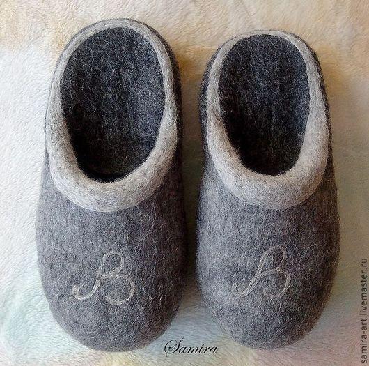 """Обувь ручной работы. Ярмарка Мастеров - ручная работа. Купить Тапочки валяные """"The Name"""". Handmade. Серый, домашние тапочки"""