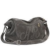 Сумки и аксессуары handmade. Livemaster - original item Grey suede crossbody Bag with shoulder strap. Handmade.