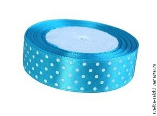 Шитье ручной работы. Ярмарка Мастеров - ручная работа. Купить Лента атласная голубая в горох 25 мм. Handmade.