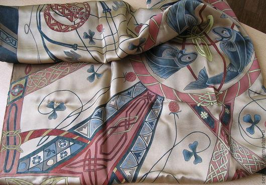 """Шали, палантины ручной работы. Ярмарка Мастеров - ручная работа. Купить Шелковый женский платок и мужской шарф  """"Кельтские узоры"""". Handmade."""