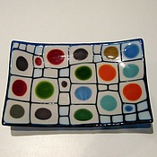 """Посуда ручной работы. Ярмарка Мастеров - ручная работа Фьюзинг. Тарелочка """"Лабиринт"""". Handmade."""