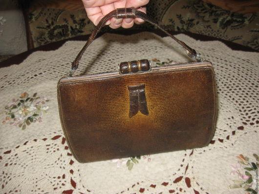 Винтажные сумки и кошельки. Ярмарка Мастеров - ручная работа. Купить Антикварная сумка кожа змеи Европа. Handmade. антикварная сумочка