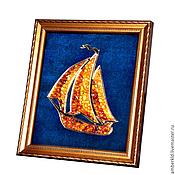 "Картины и панно handmade. Livemaster - original item Amber picture ""small sailboat"". Panels of amber ""small sailboat"". Handmade."