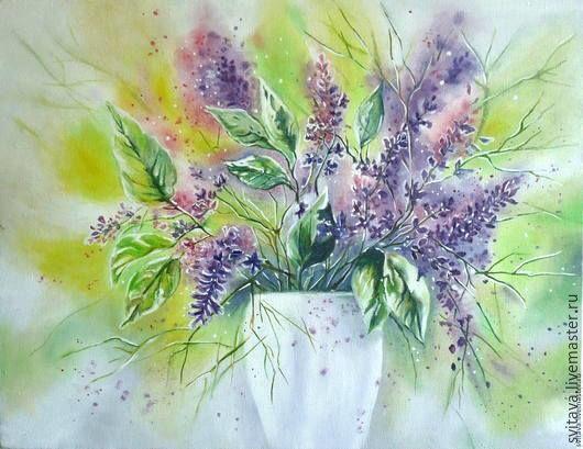 Картины цветов ручной работы. Ярмарка Мастеров - ручная работа. Купить Весна. Handmade. Сиреневый, картина маслом, цветы, подарок
