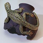 Для дома и интерьера handmade. Livemaster - original item Lizard on the broken vase. Handmade.