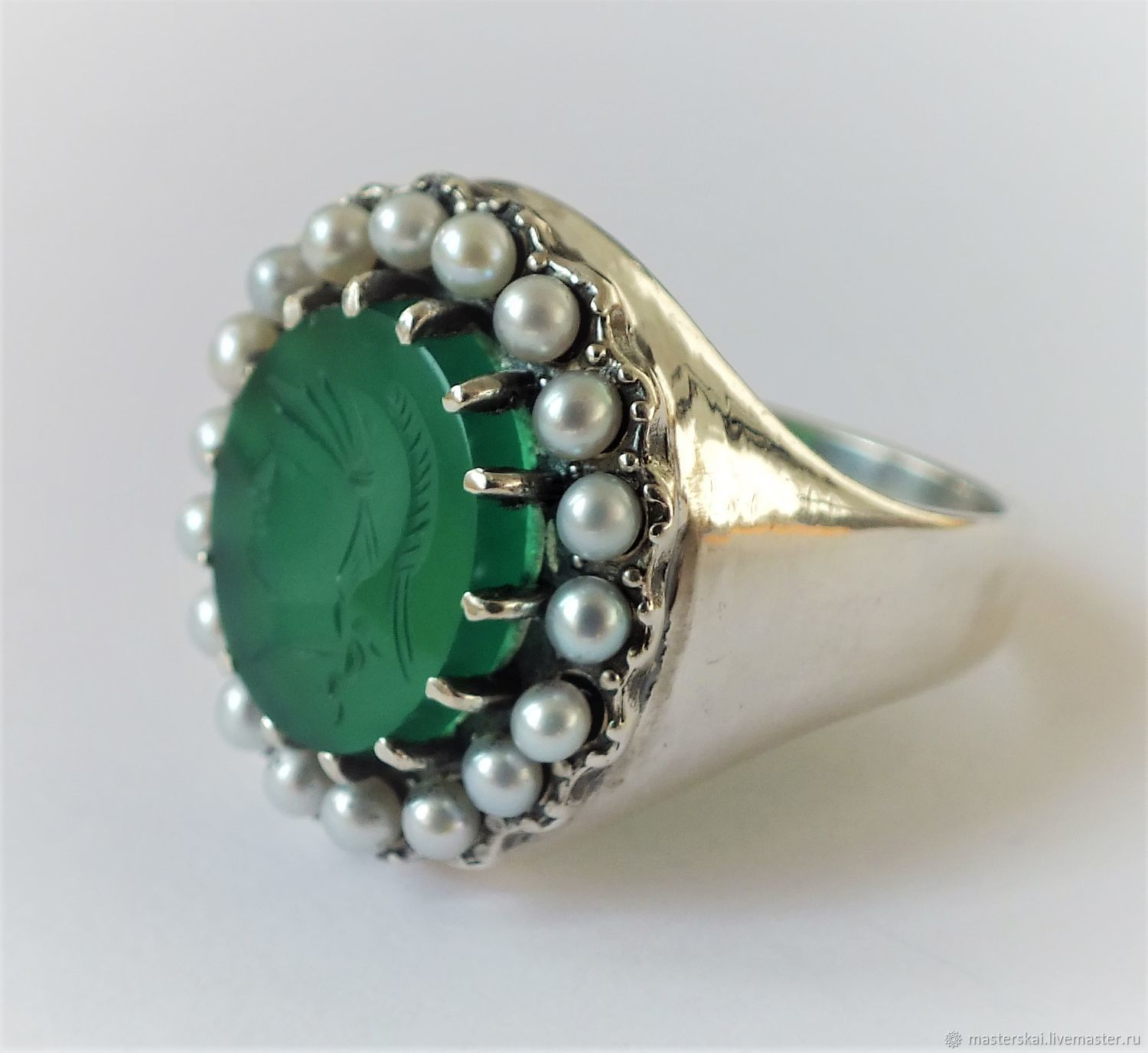 Ring 'anetta' - pearl, 925 silver, Rings, Moscow,  Фото №1