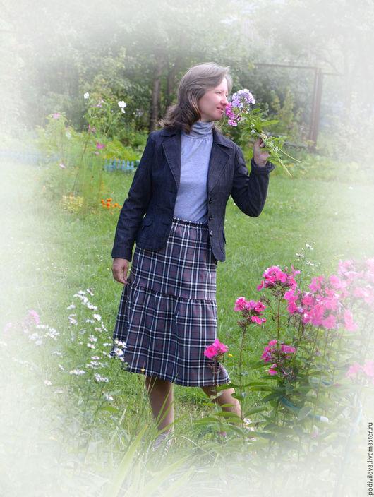 Юбка миди для девочки , девушки,женщины , офисный стиль , офисная юбка, школьная форма,школьная юбка ,клетка шотландка ,юбка ярусная миди.