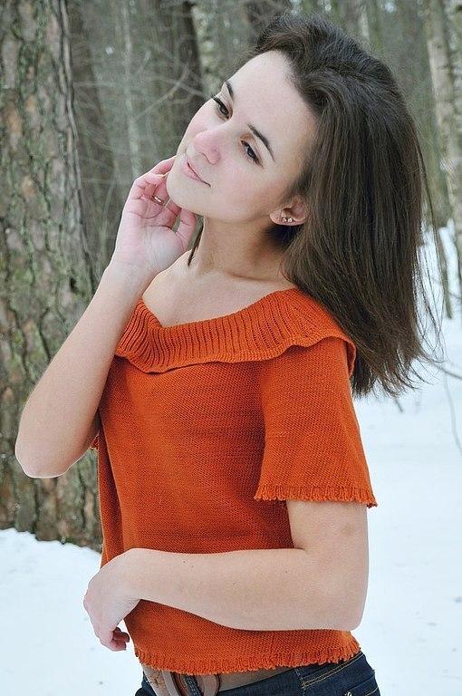 Кофты и свитера ручной работы. Ярмарка Мастеров - ручная работа. Купить Кофта рыжая вязанная женская тонкая. Handmade. Рыжий