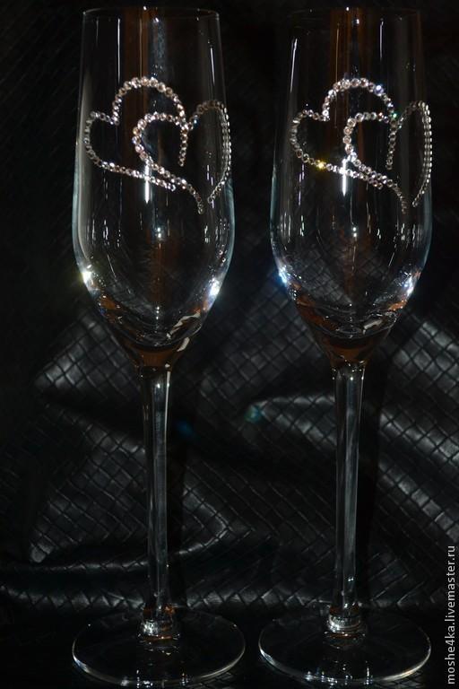 Свадебные аксессуары ручной работы. Ярмарка Мастеров - ручная работа. Купить Свадебные бокалы с кристаллами Swarovski. Handmade. Белый