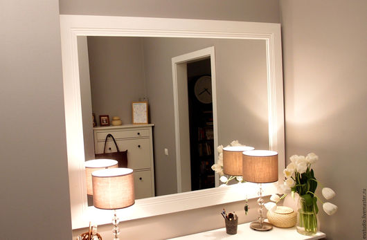 Зеркала ручной работы. Ярмарка Мастеров - ручная работа. Купить Зеркало в белой раме. Handmade. Белый, прованс, декор для дома