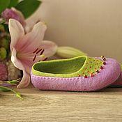 """Обувь ручной работы. Ярмарка Мастеров - ручная работа """"Цветные сны"""" валяные тапочки балетки детские. Handmade."""