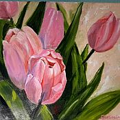 """Картины ручной работы. Ярмарка Мастеров - ручная работа Картина маслом """"Тюльпаны, Санкт-Петербург. Handmade."""